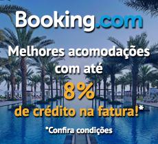 Até 8% de desconto em cash back nas melhores acomodações na Booking.com