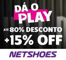 Dá o Play Netshoes: até 80% OFF mais 15% de desconto da parceria