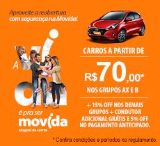 Movida: diárias a partir de R$ 70,00 mais condutor adicional grátis